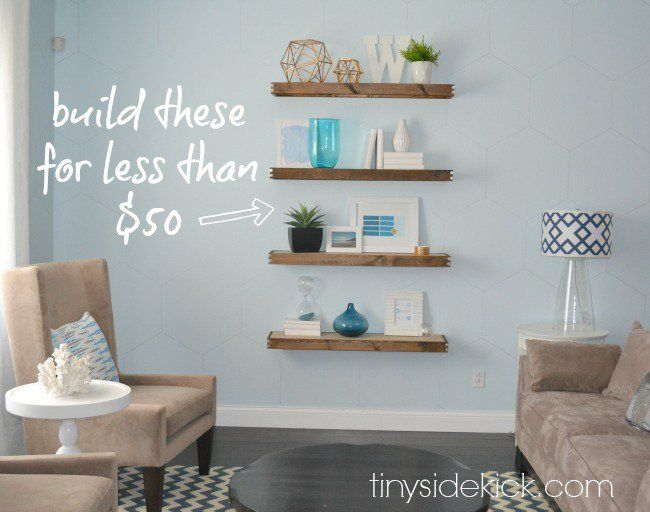 21 Stunning Wall Decor Ideas - build this floating shelves for $50