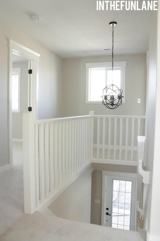 Basement Stair Landing Decorating: Stairway & Landing. Love The Light Fixture For Our Dark