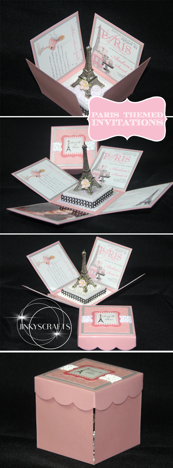 paris themed invitations with eiffel tower princess 10th bday