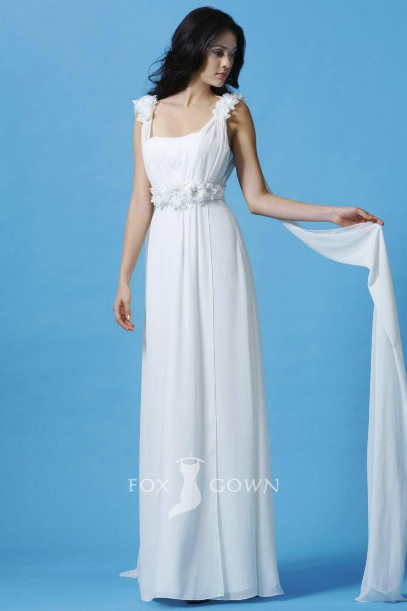 grecian sleeveless a-line straps wedding dress with streamers and ...