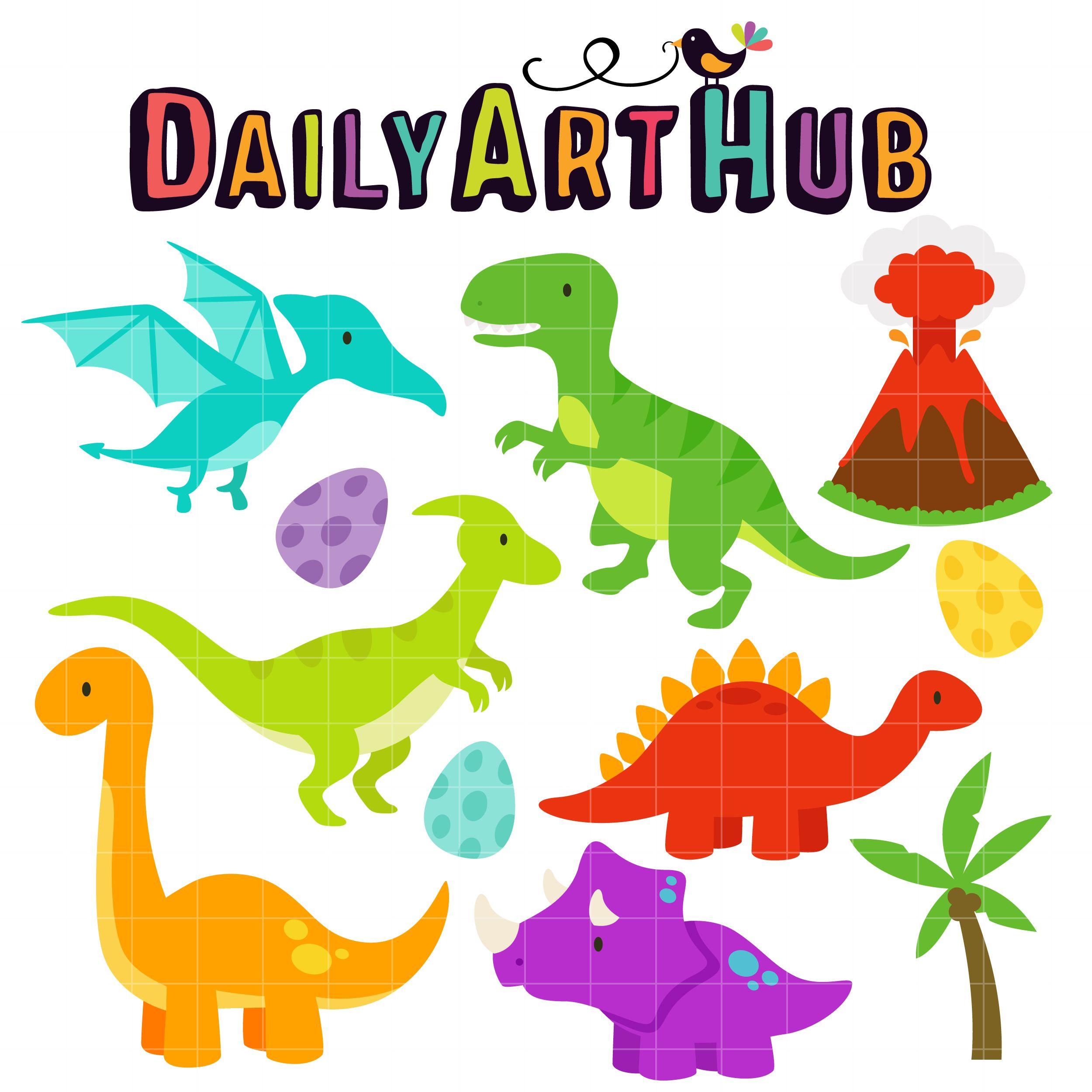 Cute Dinosaurs Clip Art Set With Images Cute Dinosaur Clip