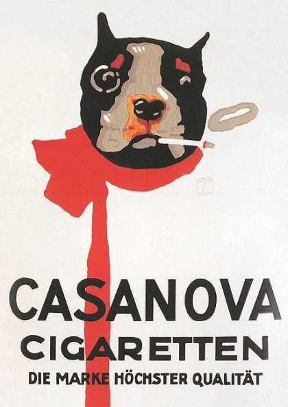 ルートヴィッヒ・ホールヴァイン 『カサノヴァ・シガレットのポスター』(1920) Ludwig Hohlwein - Casanova Cigarettes 'Jutschi 38'