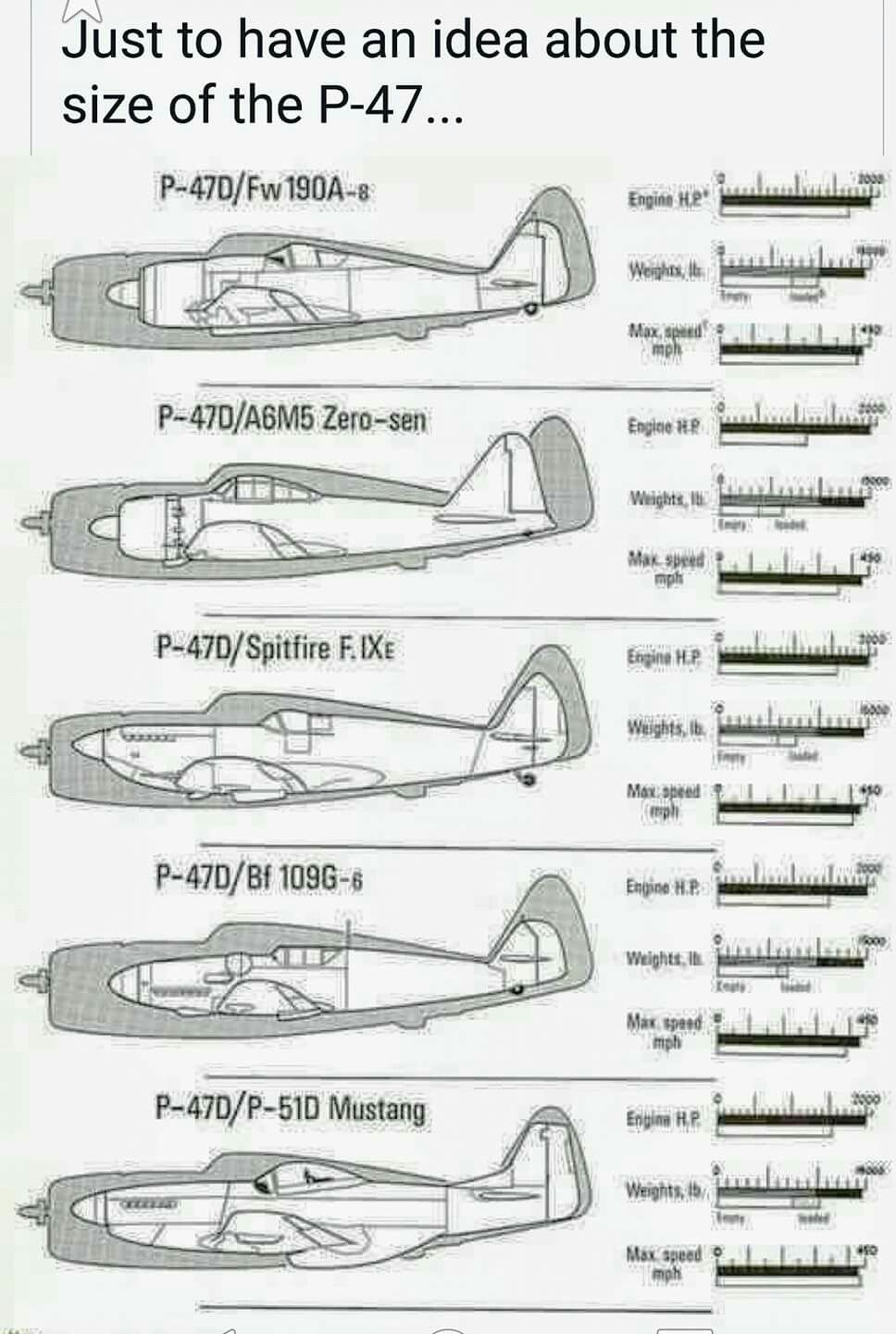 Thunderbolt P 47 Size Comparison Vintage Aircraft Wwii Airplane Aircraft