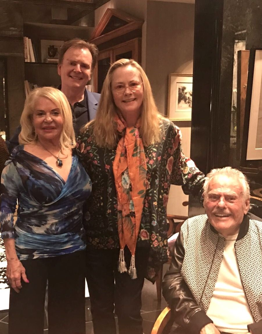 Designer #ChristopherGuy meets American actress, Cybill Shepherd and owners of the @fslosangeles, Beverly and Robert Cohen. #FourSeasons #LosAngeles