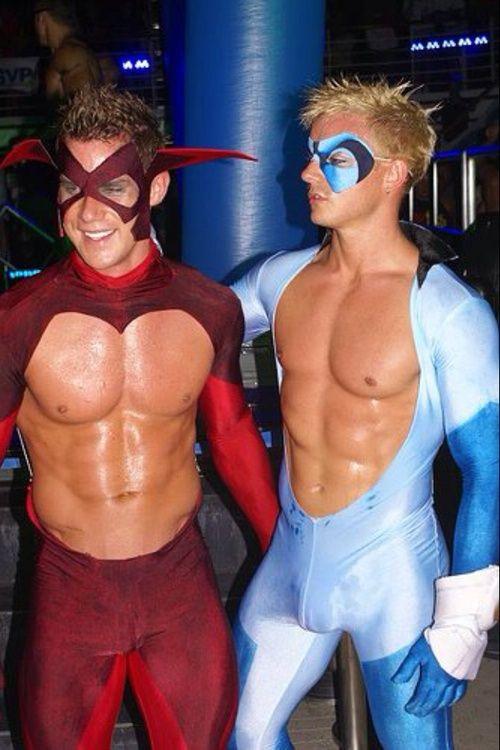 Naked super heroes consider