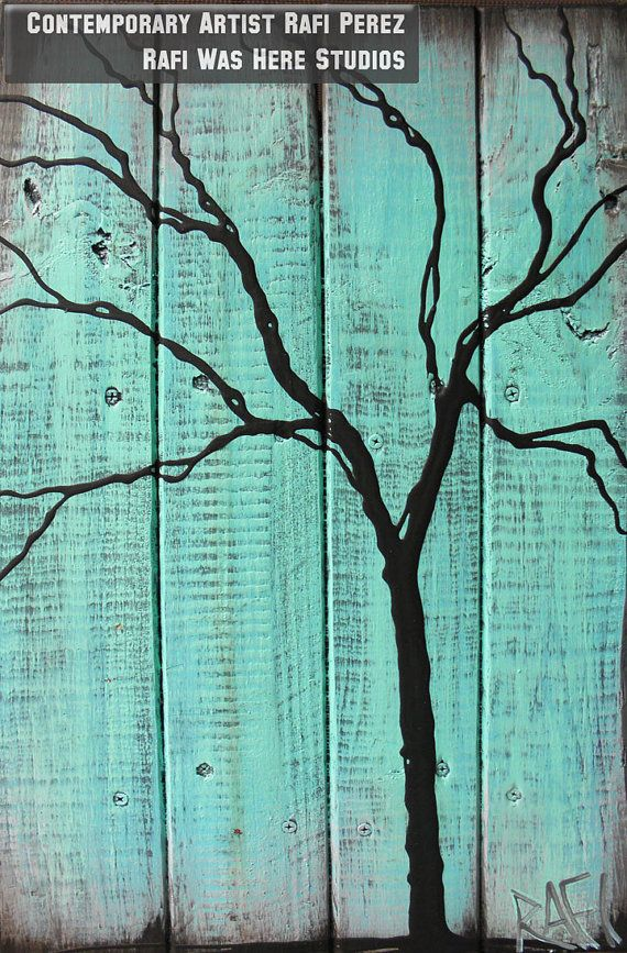 Abstract Tree - Tree Paintings on Reclaimed Wood By Artist Rafi Perez