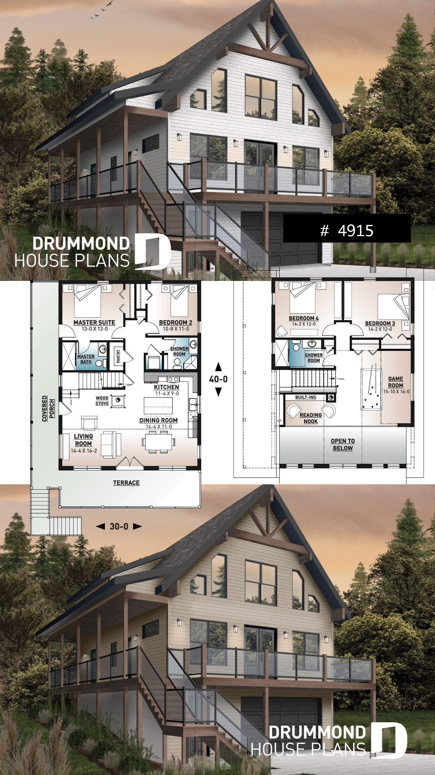 Rustic Ski Chalet Drive Under Garage Architecture Chalet Drive Garage Houseplans Moderna Craftsman House Plans Lake House Plans A Frame House Plans
