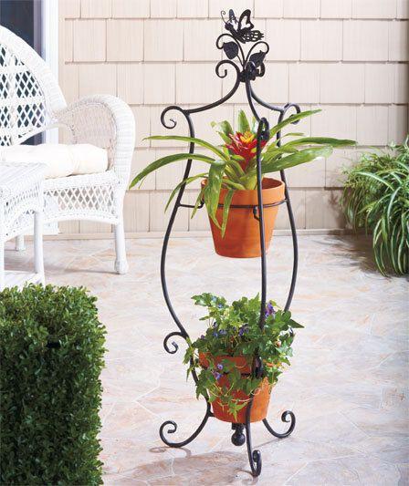 New 2 Tier Indoor Outdoor Garden 2 Tier Butterfly Plant Stand