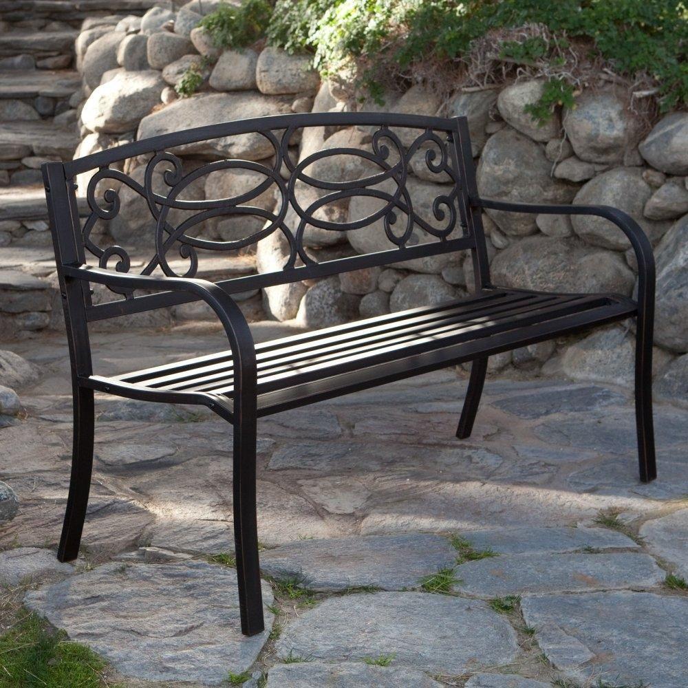 4 Ft Metal Garden Bench In Antique Black Finish Metal 400 x 300