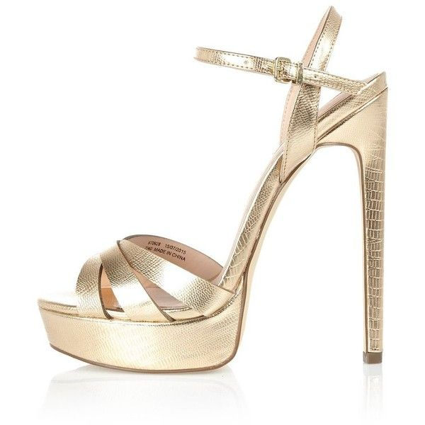 4ee0eb8fbe1f River Island Gold metallic strap platform heels (€110) ❤ liked on Polyvore  featuring shoes