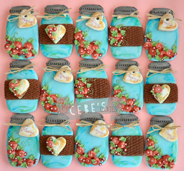 Adorable Mason Jars (Cookies by Missy Sue)