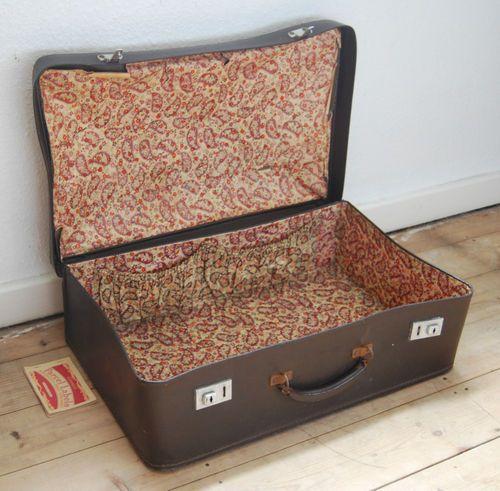 Original vintage retro brown faux leather suitcase travel carry ...