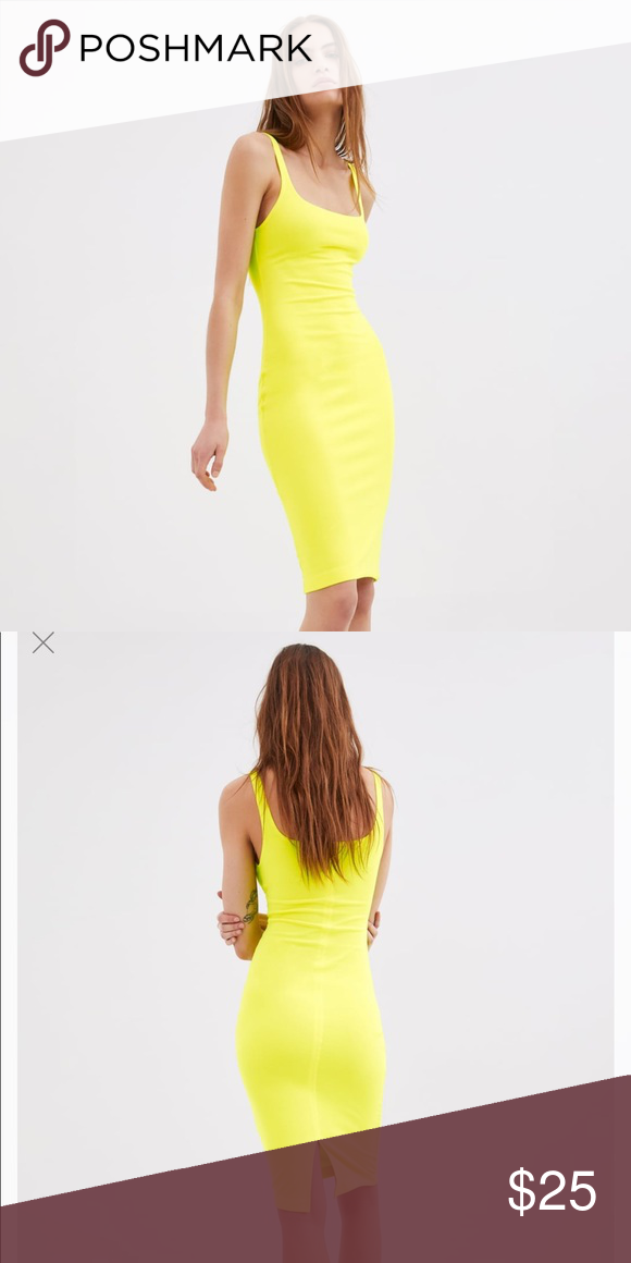 6d0fa4d24a9 ZARA neon yellow tank dress🌼🌼 This Zara neon yellow tank dress is ...