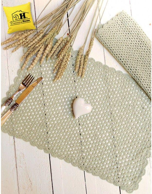 Tovaglietta americana Shabby Chic Crochet Collection Blanc Mariclo ...