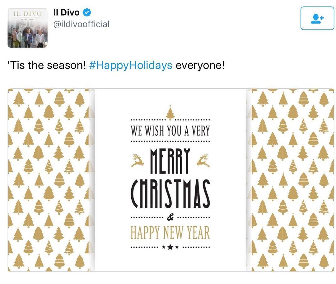 A happy Christmas from Il Divo shared on twitter! #sebsoloalbum ...