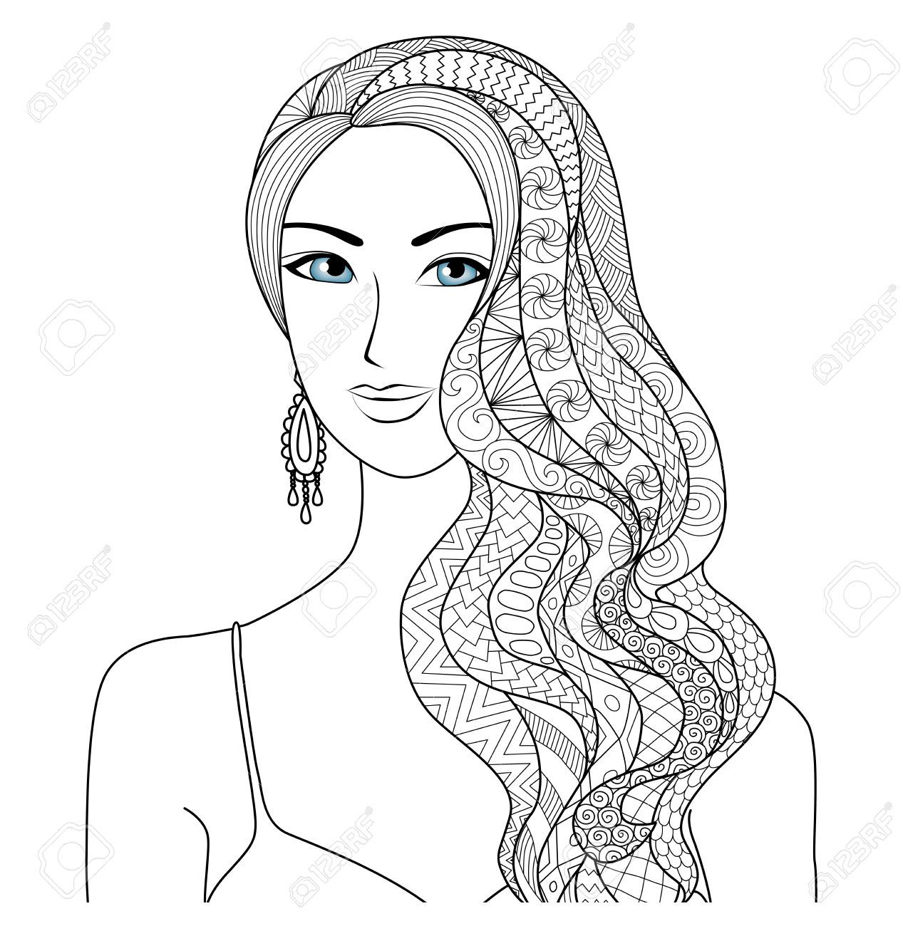 51197224 drawing woman zentangle hair style for coloring book
