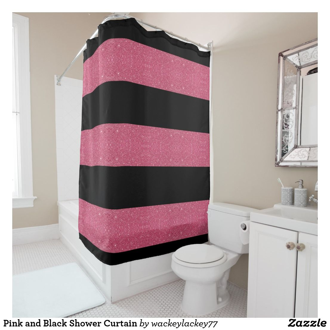 Pink And Black Shower Curtain Zazzle Com Black Shower Curtains