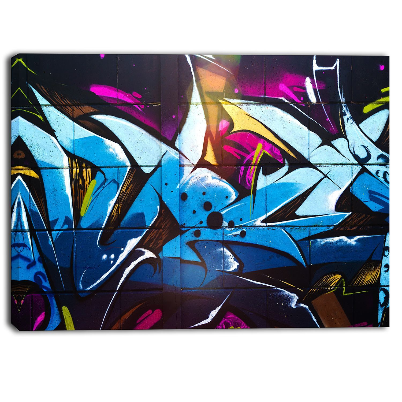 Designart Blue Purple Graffiti Abstract Street Art Canvas Print