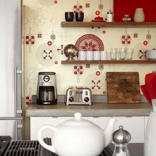 ideas de papel tapiz en la cocina