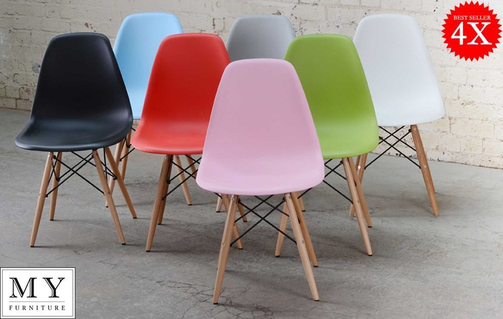 4 X Dsw Eames Style Dining Chair White Black Red Blue Green Pink