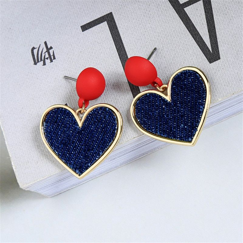 Vintage Rhinestone Earrings Small Red Rhinestone Heart Stud Earrings
