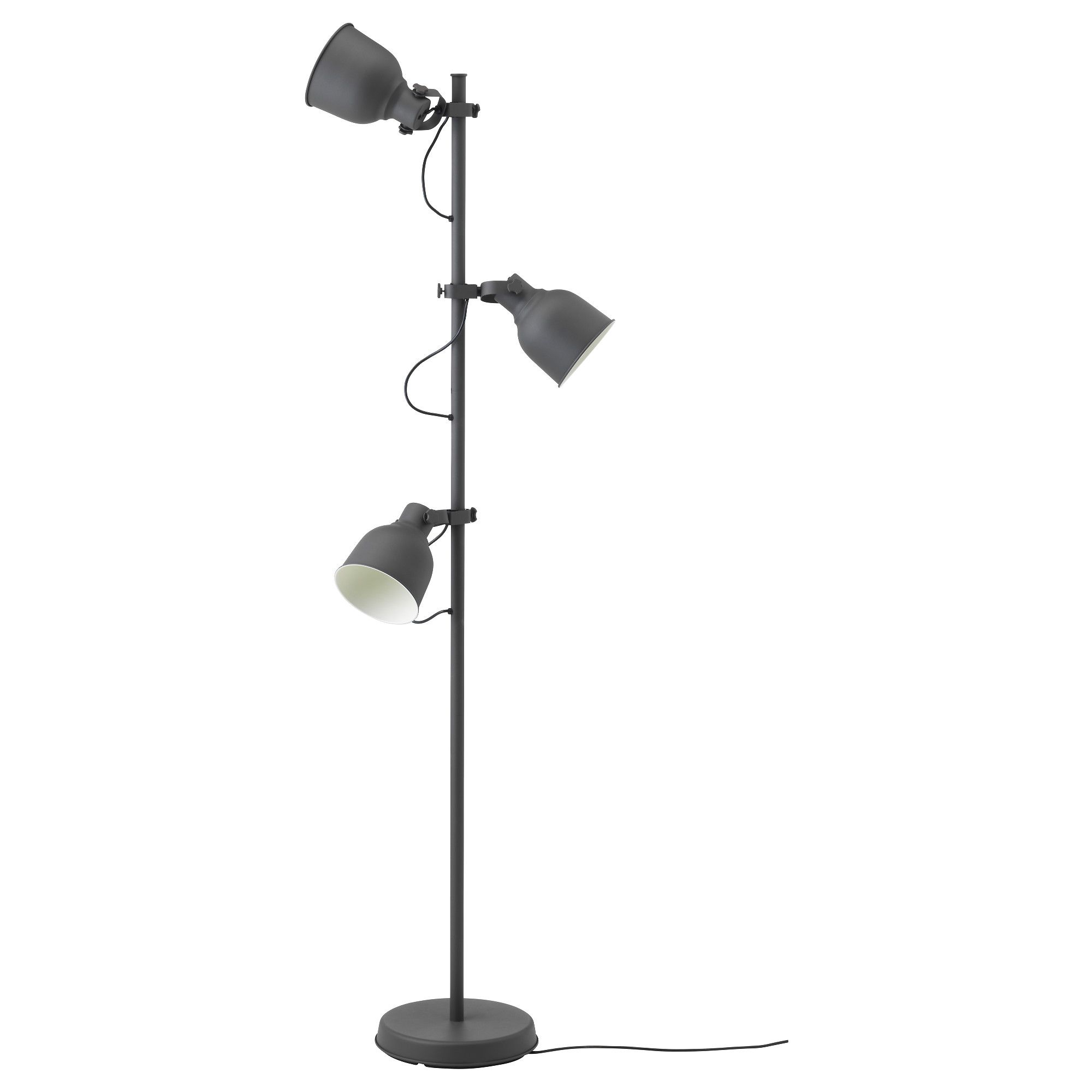 IKEA - HEKTAR, Golvlampa med 3-spot, , Du kan tända och släcka varje lamphuvud separat och rikta belysningen dit du vill, så att du exempelvis kan ha en som vägglampa och de andra som läsbelysning.