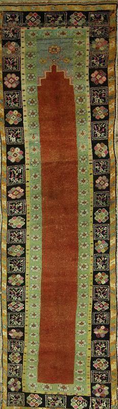 70 Years Old Antique Rug Runner 3x11 Oushak Turkish Oriental Area Carpet Ebay