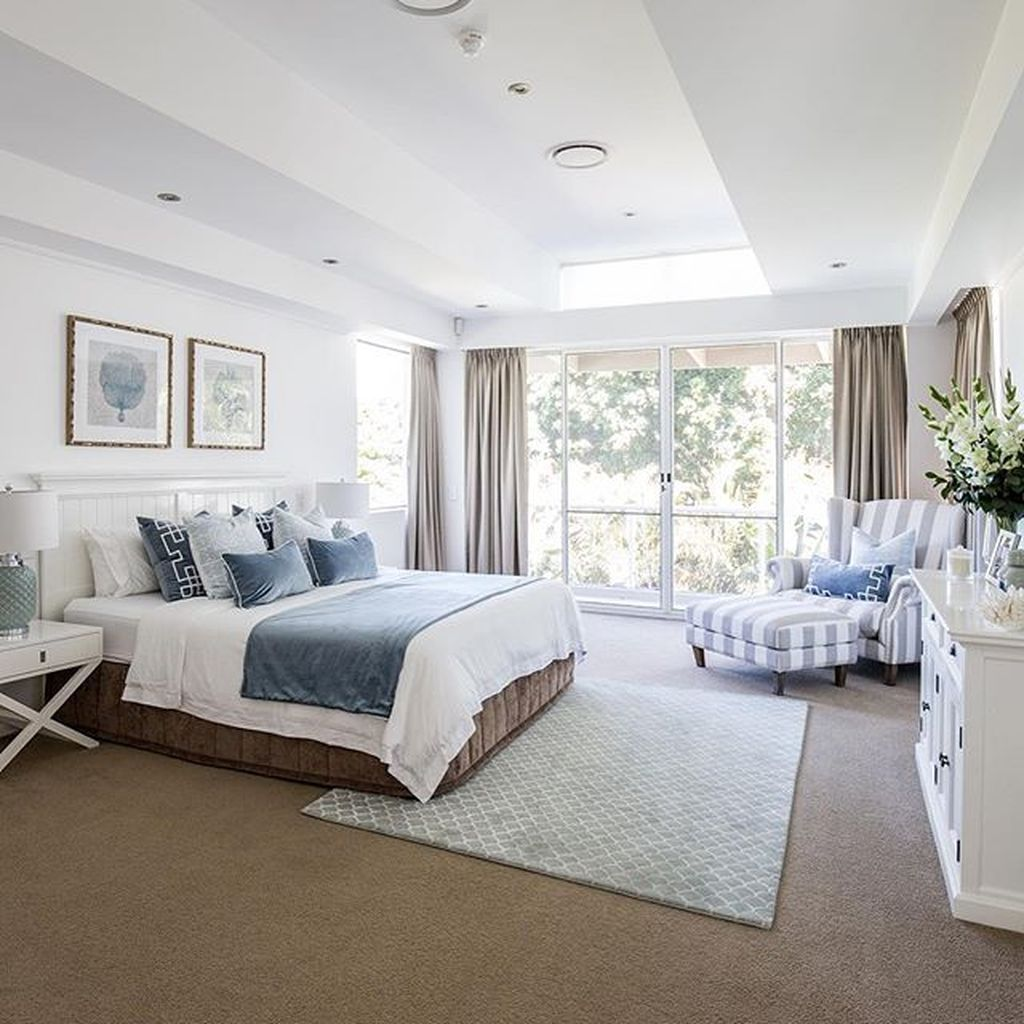 Hamptons Inspired Luxury Home Master Bedroom Robeson: 75 Coastal Beach Master Bedroom Decorating Ideas