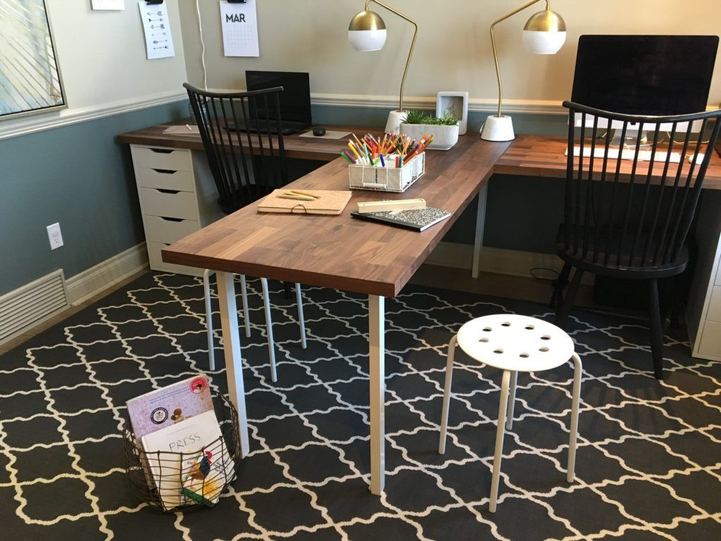 T Shape Desk Half For Crafts Half For Computer Work Ikea Butcher Block Home Office Design Home Office