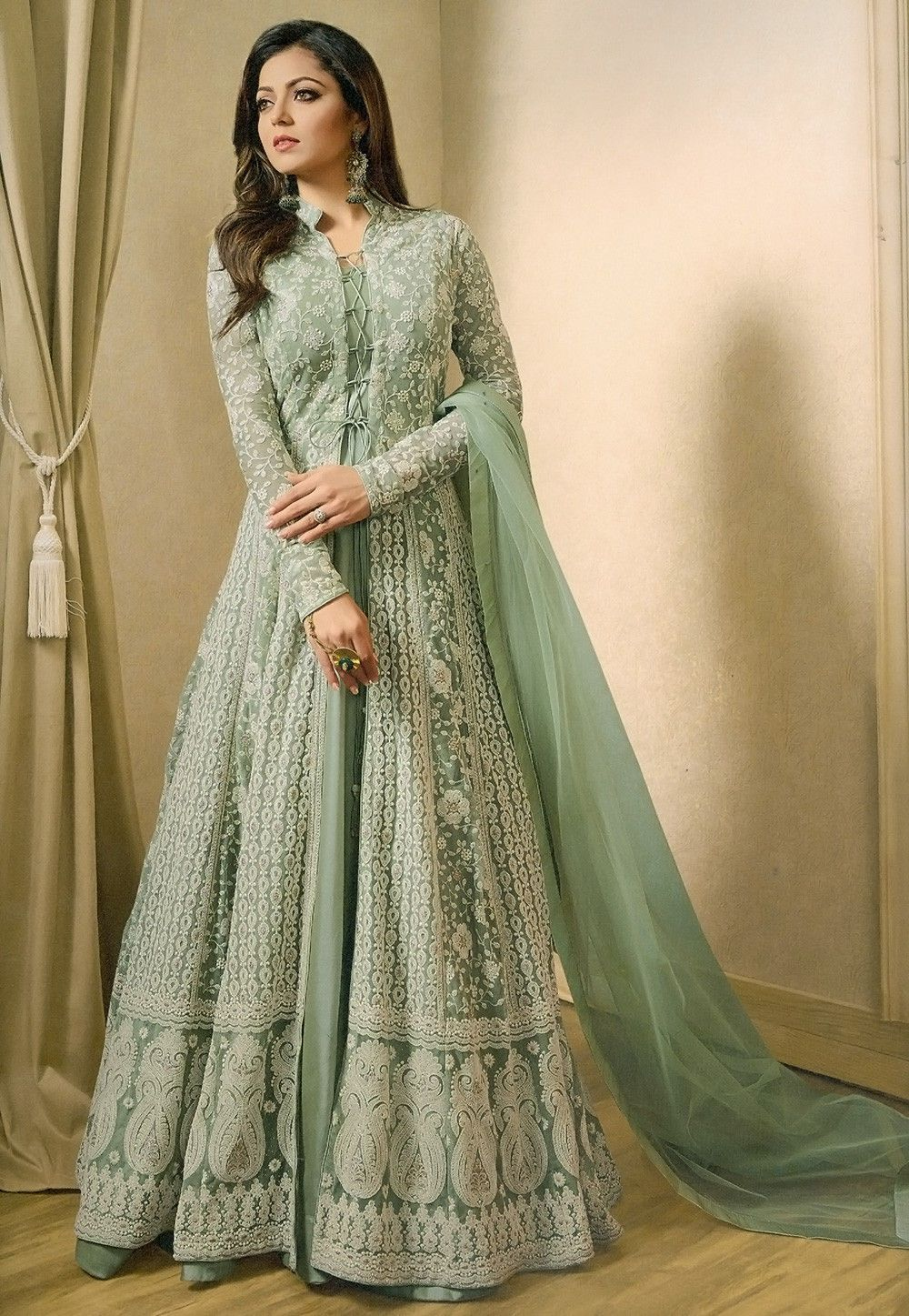 02880b0b61 Buy Embroidered Net Abaya Style Suit in Pastel Green online, Item code:  KCH1293, Color: Green, Occasion: Wedding, Bollywood Theme, Work: Designer,  ...