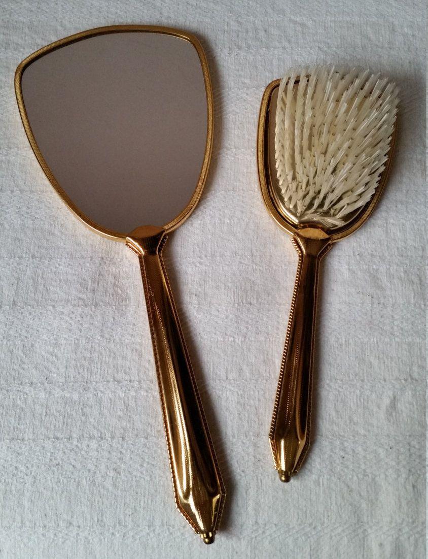 beautiful hand mirror. a beautiful vintage hairbrush and matching hand mirror - 1950\u0027s hair brush
