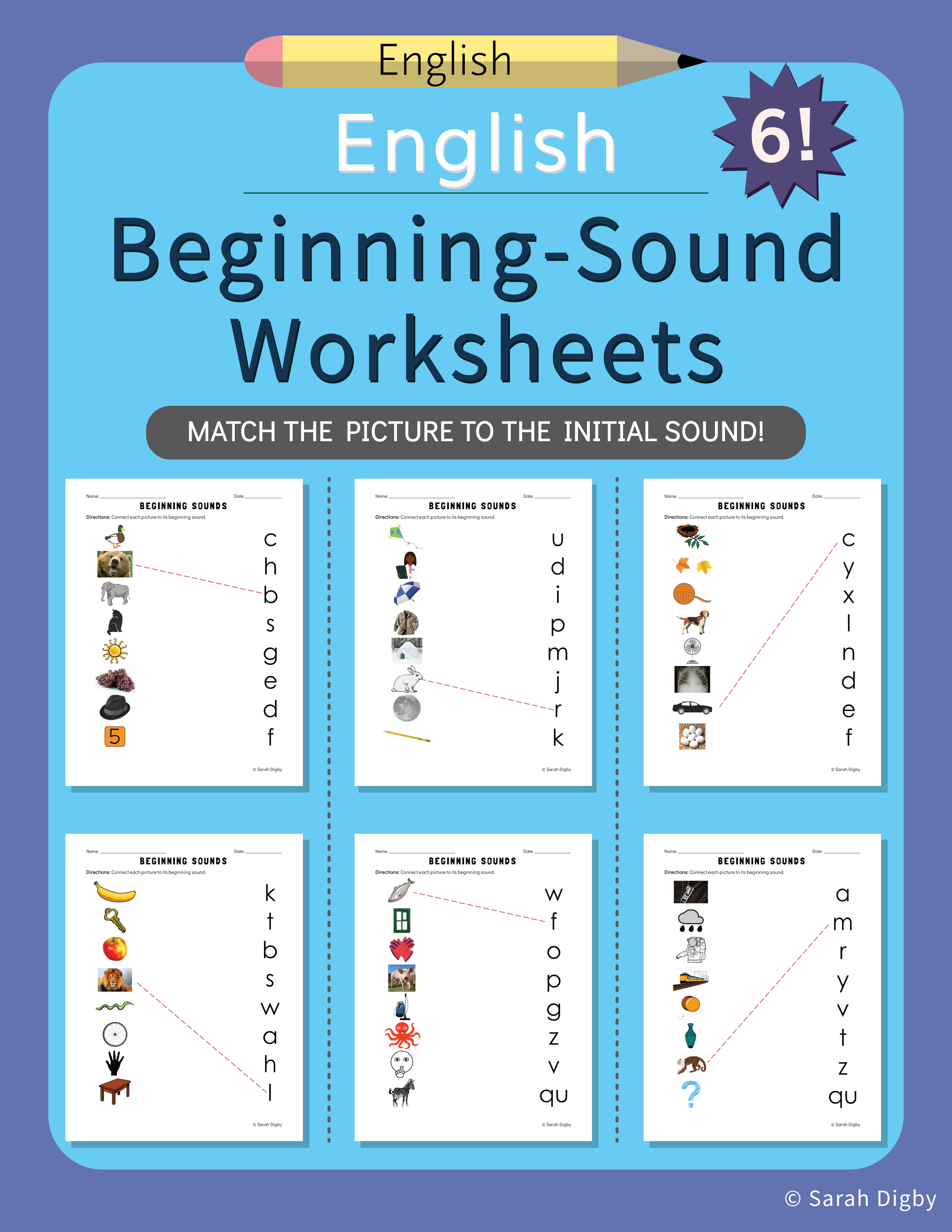 6 English Beginning Sound Worksheets