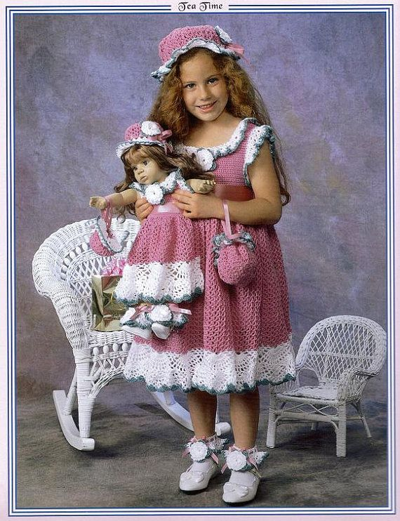 Dresses to Crochet for Dolly and Me by Delsie Rhoades size 2- 6 & 18 ...
