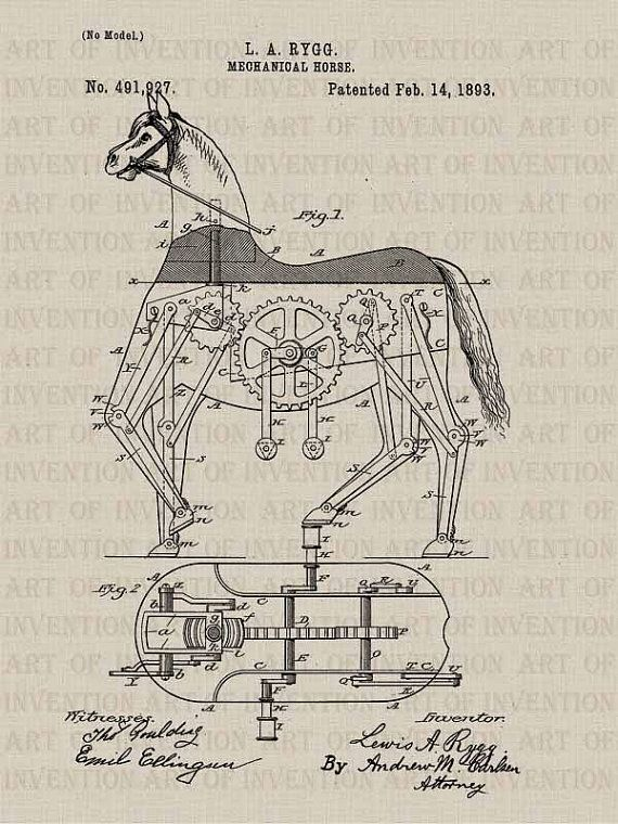 MECHANICAL HORSE 927, vintage patent illustration, steampunk design drawing