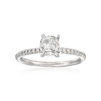 Ross-Simons - Henri Daussi .86 ct. t.w. Diamond Engagement Ring in 18kt White Gold - #817988