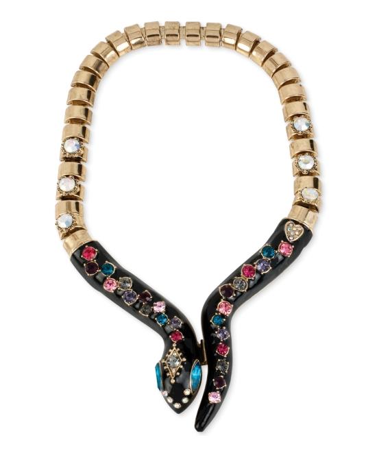 Betsey Johnson Gold-Tone Black Snake Multicolor Crystal ...