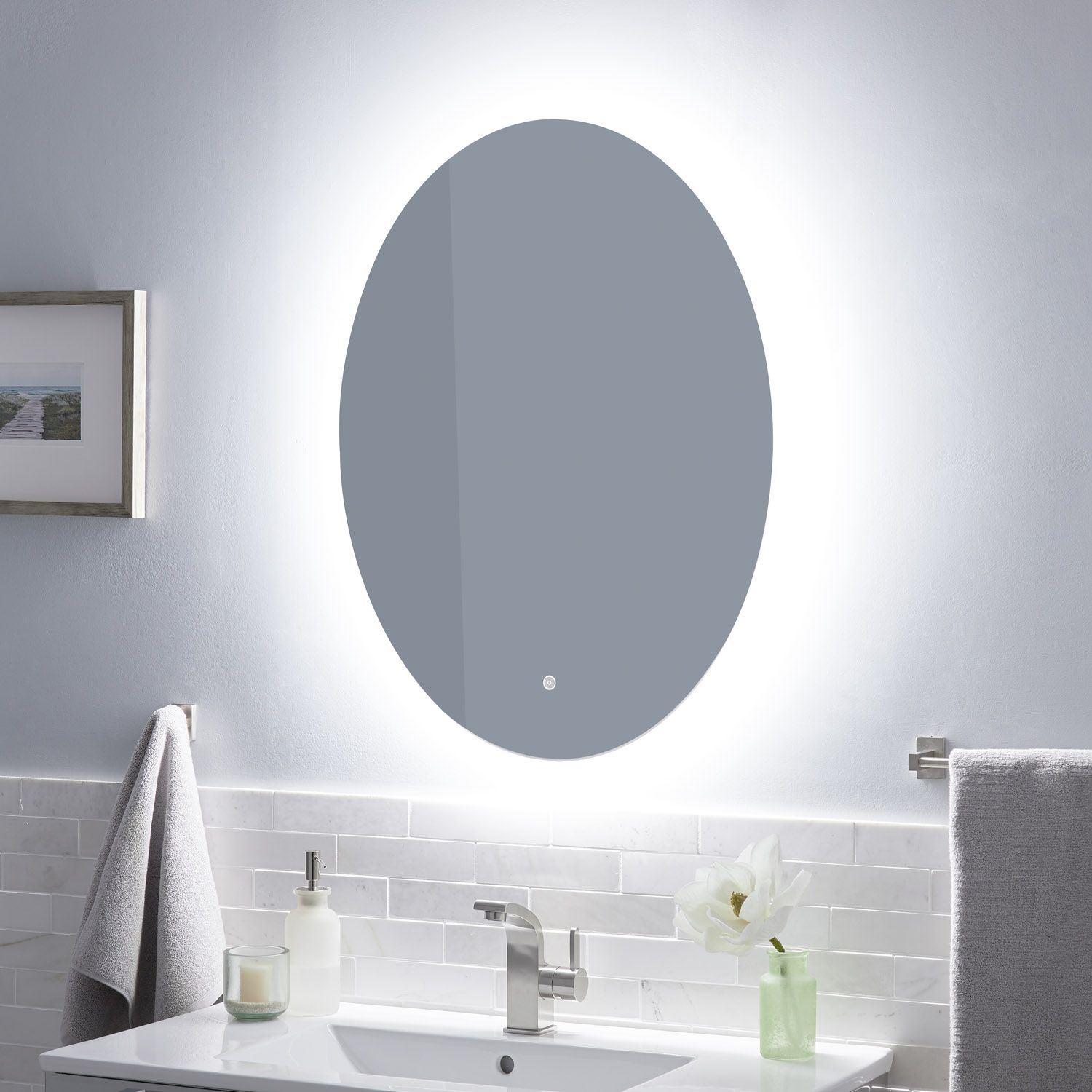 Fahlman Oval Lighted Mirror With Tunable Led Round Mirror Bathroom Bathroom Mirror Lights Home Decor Mirrors