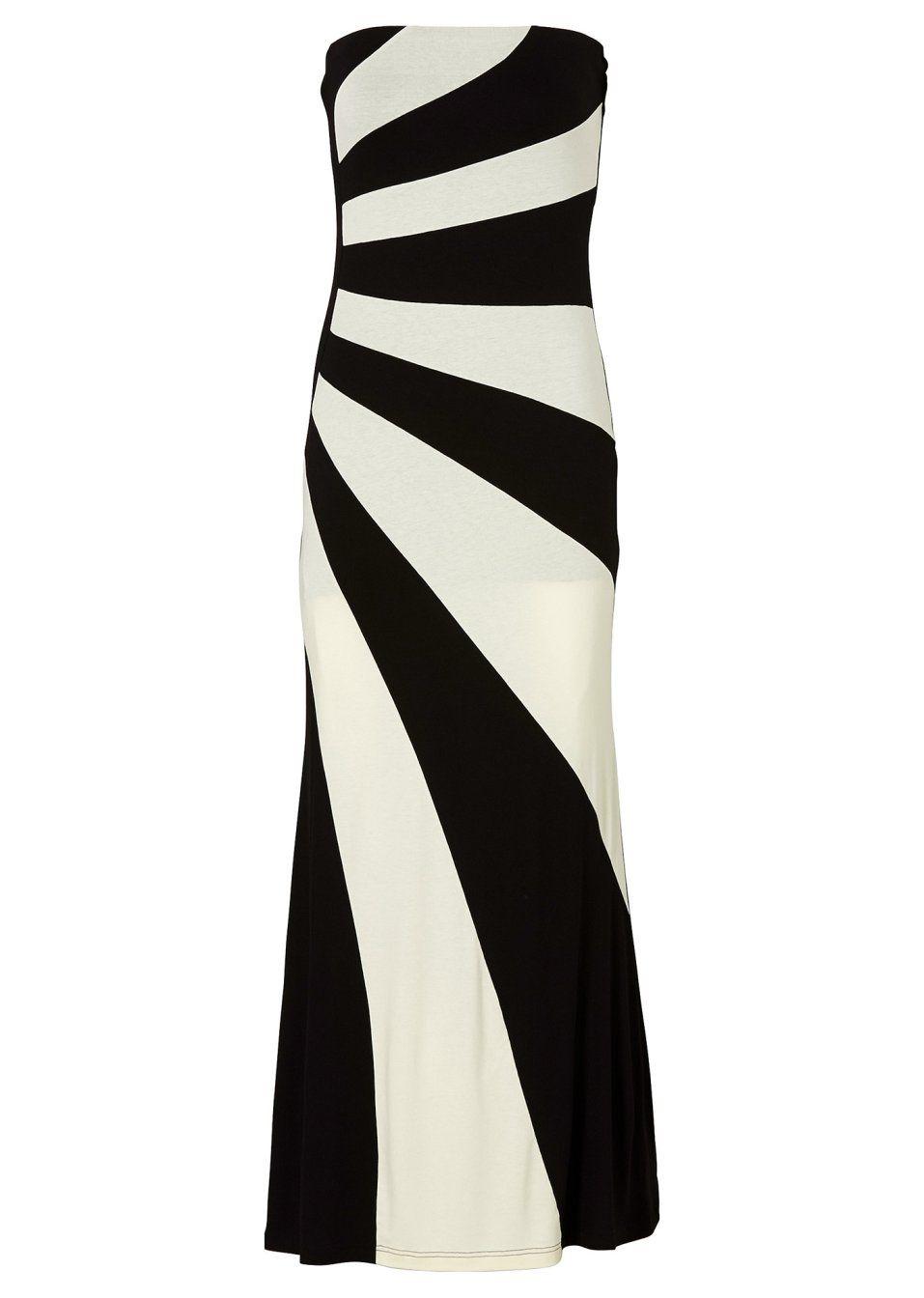 Figurbetont geschnittenes Kleid in Maxilänge - schwarz/cremeweiss