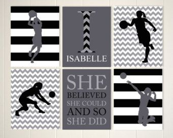 Teen girl wall art, basketball girl, female basketball, volleyball girl, motivational art, set of 6, choose your colors and sports