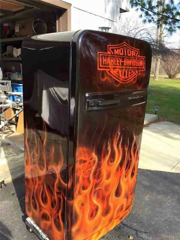 Harley Davidson Motor Beer Fridge Shop Ideas Bar Basement Garage Furniture Man Cave Refrigerator Bike Room
