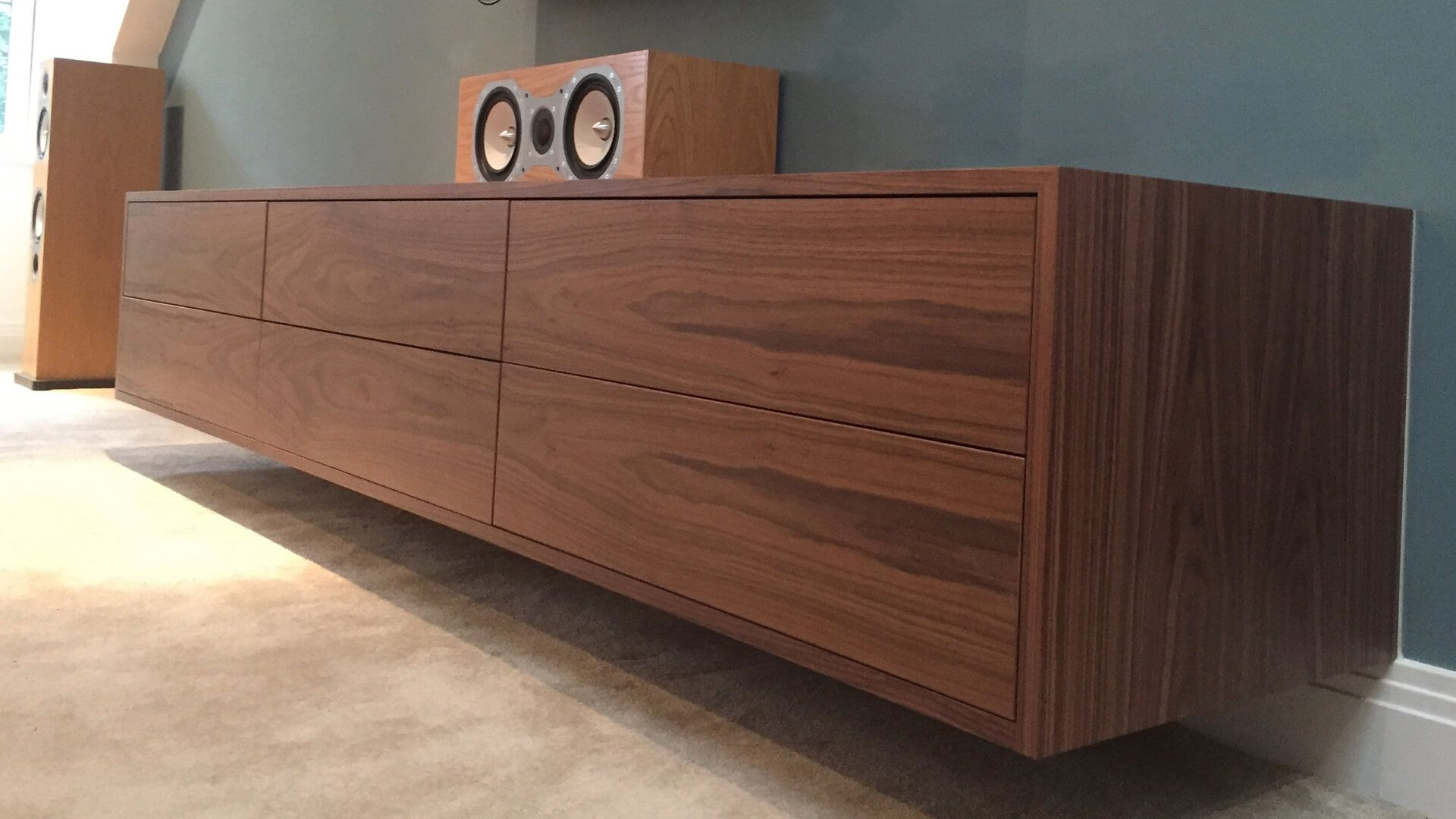 This Walnut Wall Mounted Av Cabinet Was Handmade In Britain By Born Of Wood S Sister Company