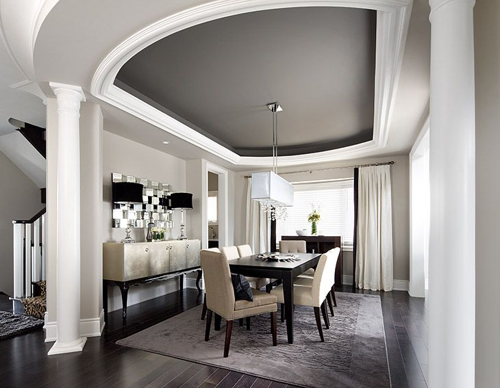 2 Color Ceiling Is Neat Dining Room Designs