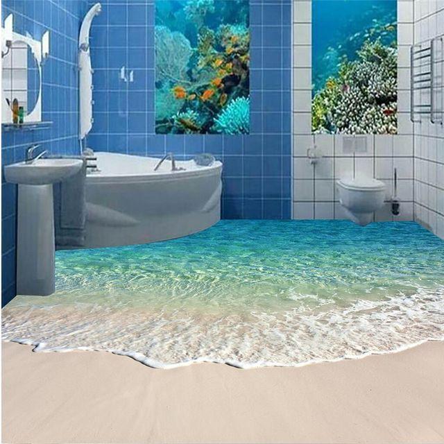 Lámpara de Pie moderna pintura HD blue sea reef paisaje Impermeable ...