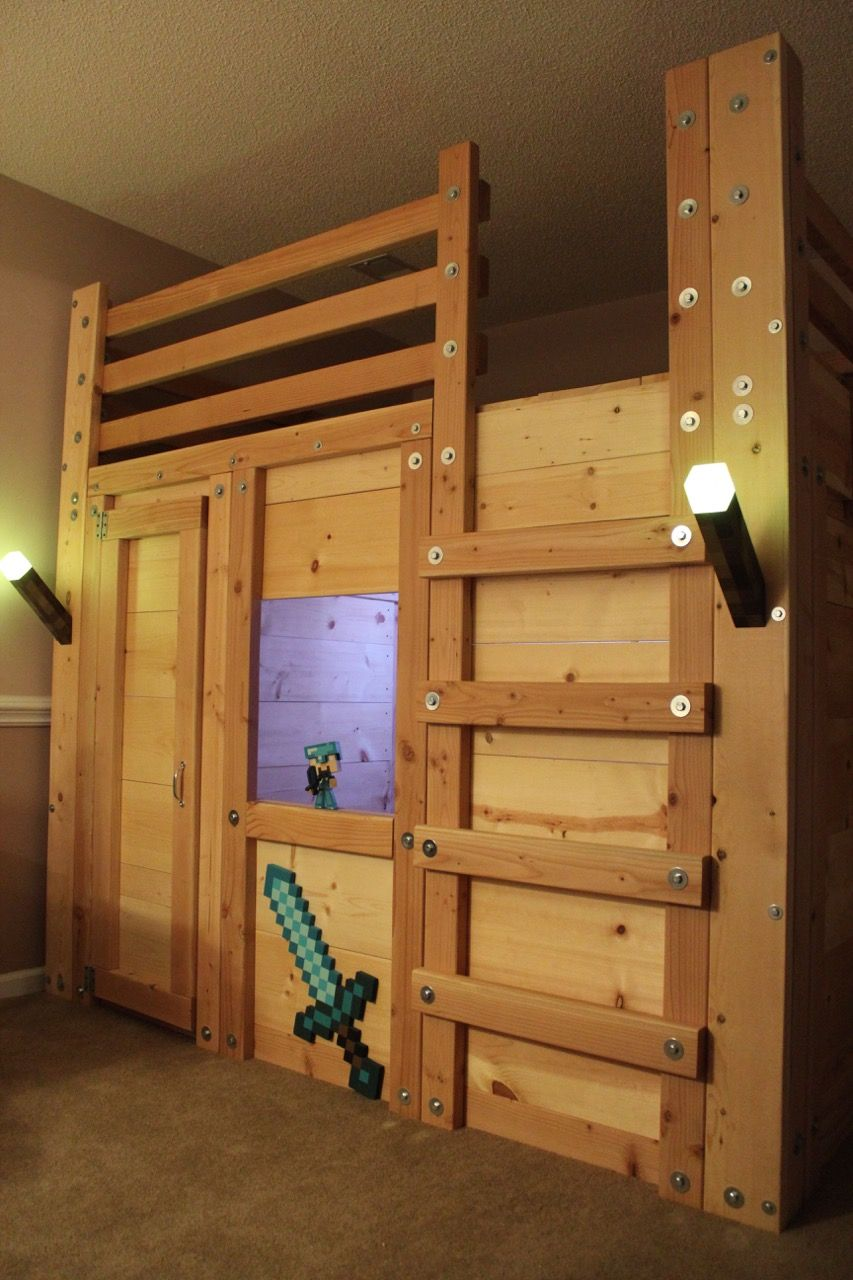 minecraft themed bed fort httpwwwpalmettobunkbedscom