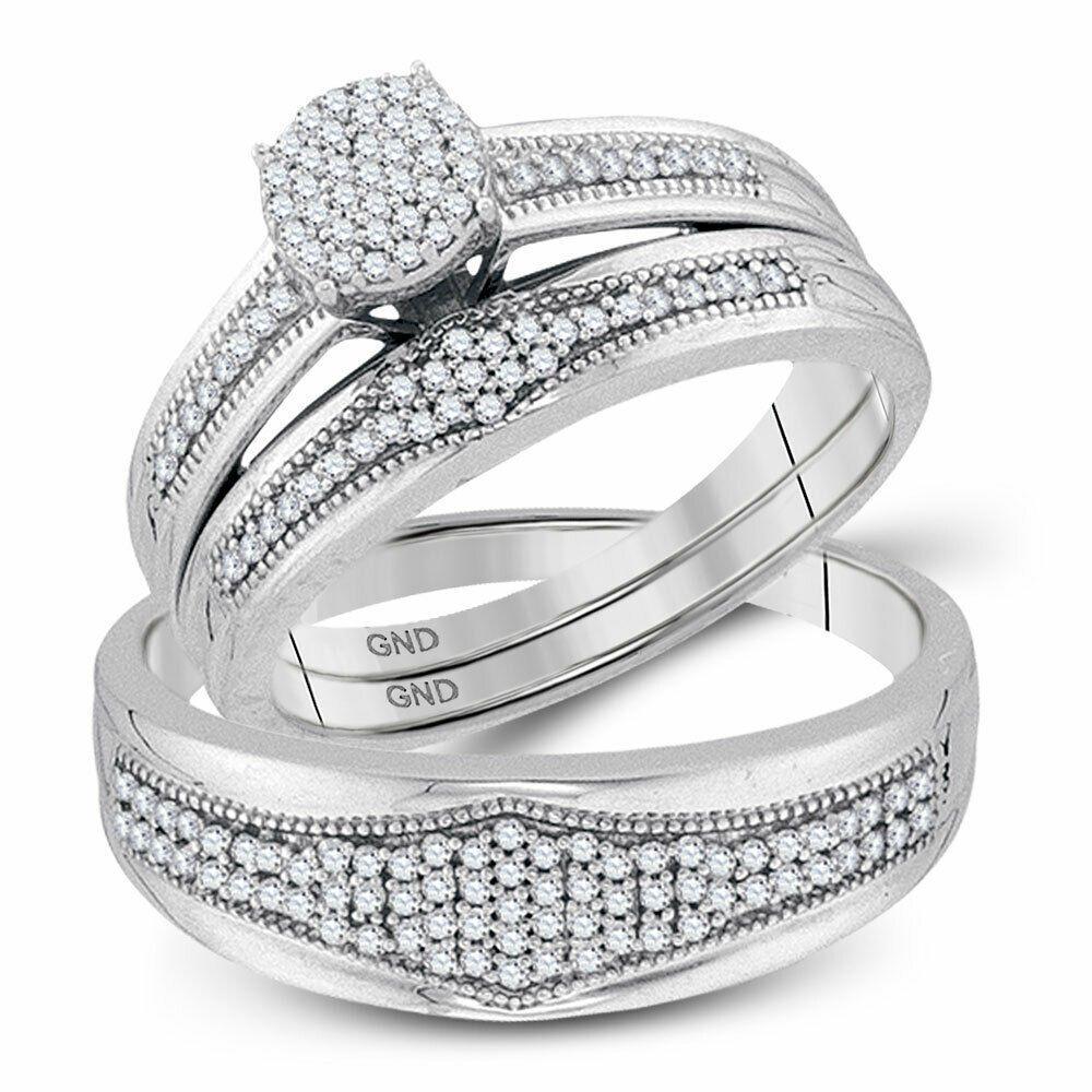 10k White Gold 0 40ct Charming Fashion Micro Pave Diamond Milgrain Trio Set Ring Fashion Diamond Rings Idea Diamond Fashion Rings Round Diamonds White Gold