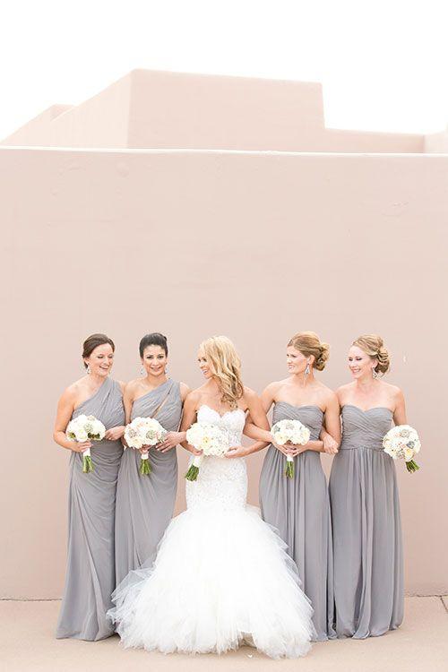 Bridesmaids in Gray Chiffon Monique Lhuillier Gowns | Brides.com