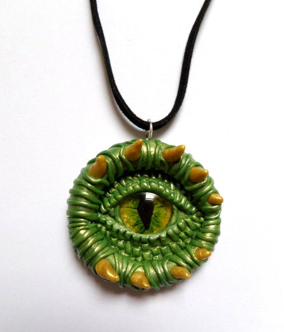 Mystical Light Green Dragon eye pendant handmade by AurorasLocket