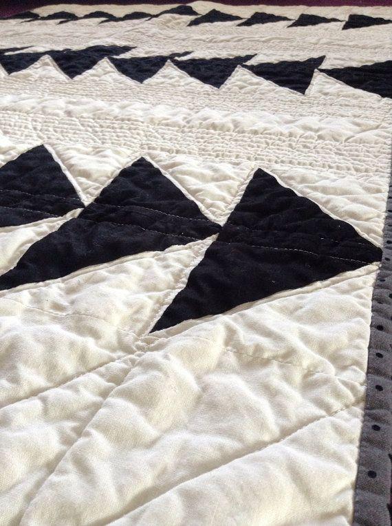 Modern Arrow Quilt with Mustache fabric by LittleCottonTree, $125.00