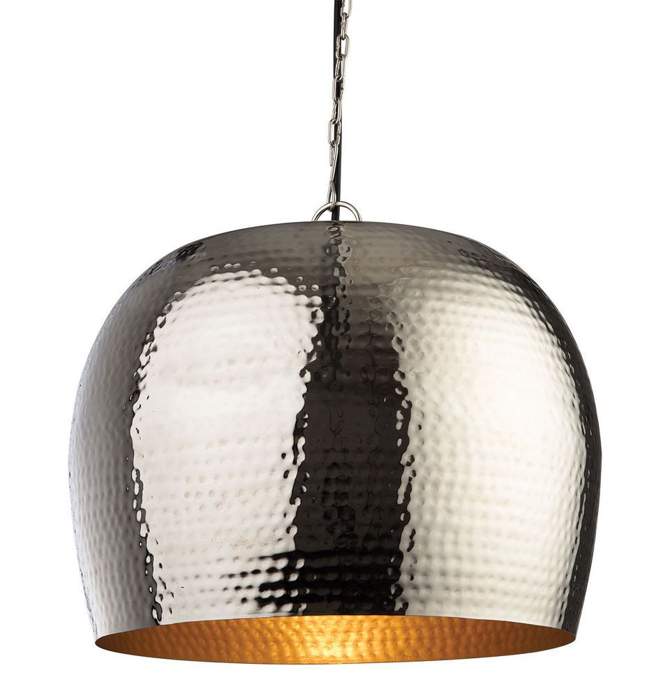 Firstlight Large Assam Pendant In Nickel With Matt Brass Inside - Large single pendant light
