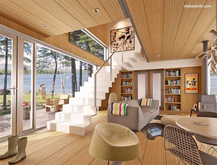 Arquitectura de casas casa prefabricada moderna modular con madera arquitectura madera for Decoraciones modernas para casas